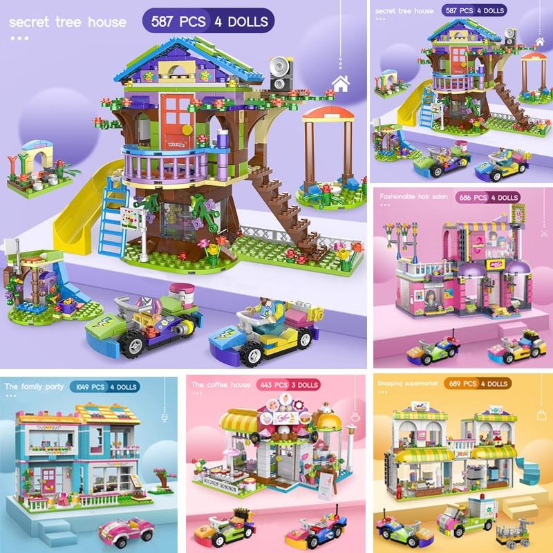1049 шт. секрет для друзей дерево дом город строительные блоки для девочек для укладки DIY Кирпичи игрушки для детей с фигурками кукол и автомоб...