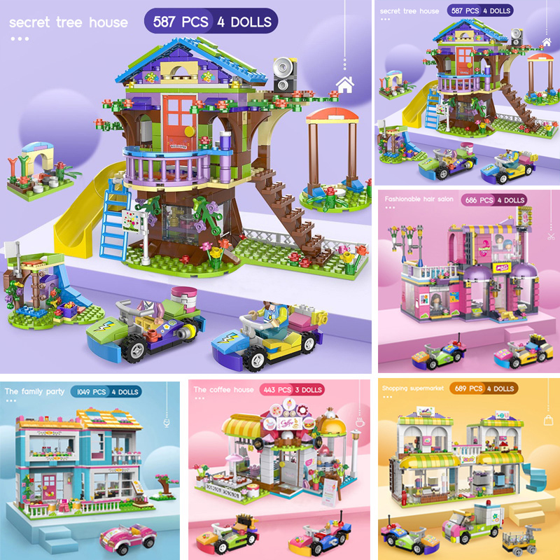 New set Secret Friends Tree House City Building Blocks Girls DIY Stacking Bricks Toys For Children With Figures Dolls And Cars