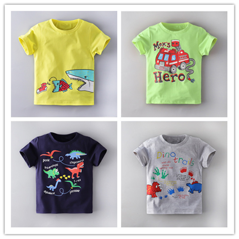 VIDMID Boys Clothing Tees Summer Children Boys Cartoon Dinosaur Letter Print Cotton T-shirt Tops Tees Summer Clothes   4138 02