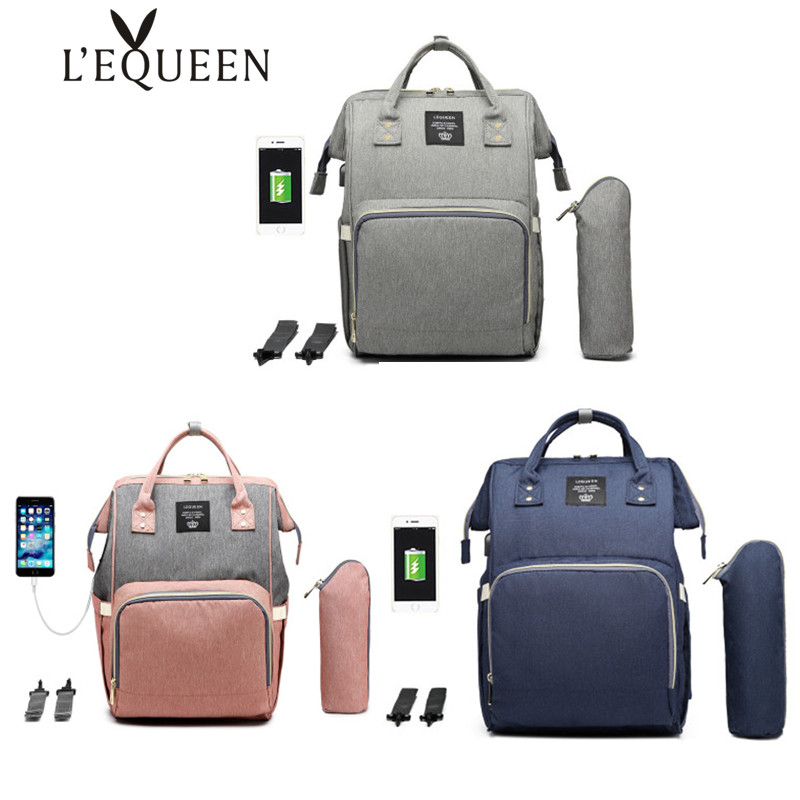 LEQUEEN USB Waterproof Diaper Bag Backpack Baby Bags Nursing Care Maternity Bag USB Diaper Organizer Mummy Bag Backpack For Mom