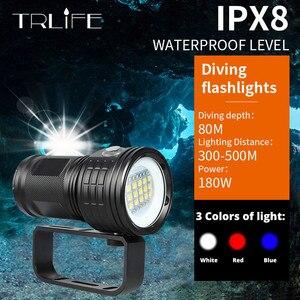 Image 1 - IPX8 جديد الغوص مضيا 18650 الشعلة تحت الماء التصوير أضواء الغطس فيديو مصباح أبيض أحمر أزرق LED الغوص صور ملء الإضاءة