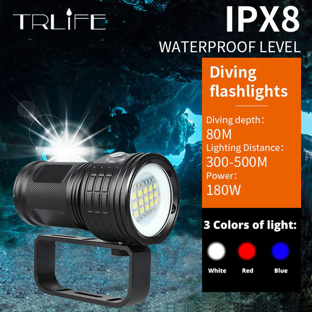 IPX8 New Diving Flashlight 18650 Torch Underwater Photography Dive Light Video Lamp White Red Blue LED Scuba Photo Fill lighting