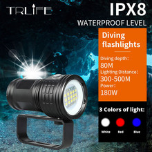 IPX8 nowa latarka do nurkowania 18650 latarka fotografia podwodna oświetlenie do nurkowania lampa wideo biały czerwony niebieski LED Scuba Photo Fill lighting