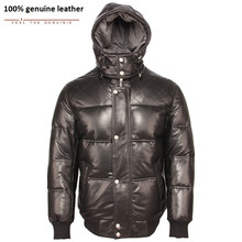 Russian Winter Coat Thick Soft Warm Men Leather Duck Down Coat Hood Removable 100% Natural Sheepskin Man Overcoat Hooded M445(China)