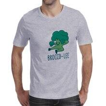 Camiseta de verão masculino engraçado imprimir bruce lee kung fu brócolis manga curta o pescoço casual camiseta hip-hop streetwear camisetas gráficas