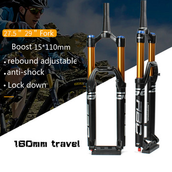 27,5/29 pulgadas horquilla para bicicleta MTB impulso 15*110mm, cerradura a presión de aire del cilindro de eje horquilla Fox 160mm Sepension bicicleta