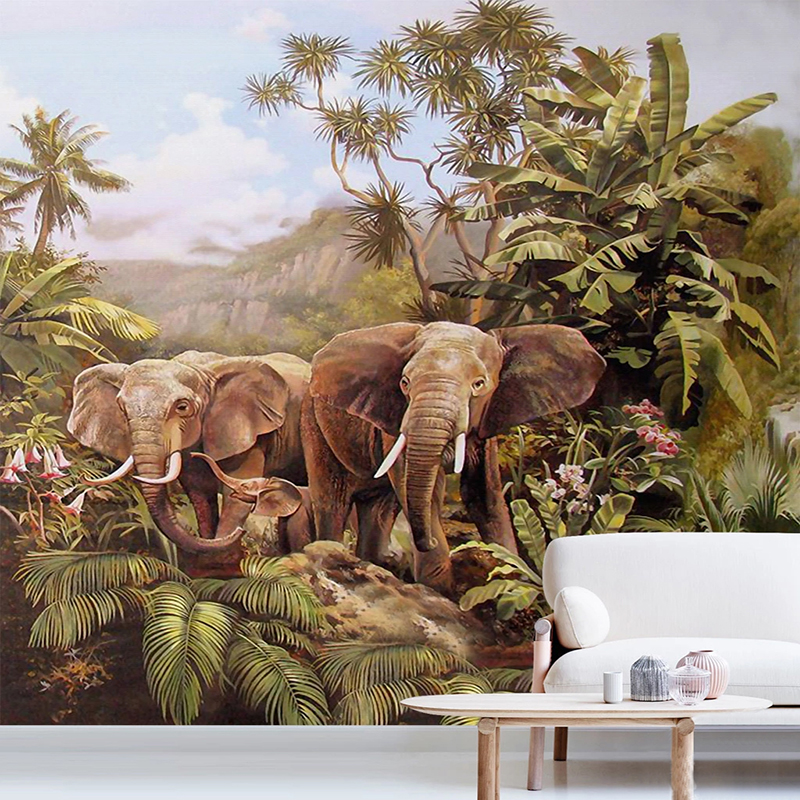 Custom Wall Murals Hand Painted Oil Painting Elephant Forest Coconut Tree Bedroom Living Room Mural Wallpaper Papel De Parede 3D