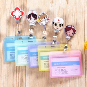 Cute Cartoon Transparent Card Case Retractable Card Holder Fashion Student Nurse Doctor Business Work Name Tags ID Badge Holders