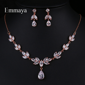 Emmaya New Flower-shape For Women Delicate Earring And Necklace Cubic Zircon Fashion Statement In Party Elegant Jewelry Set