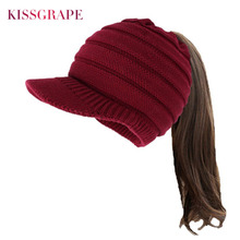 Winter Warm Knitted Baseball Caps Hats for Women Autumn Ponytail Hat Knit Snapback Hat Ear Warm Caps Female Outdoor Fashion Hat