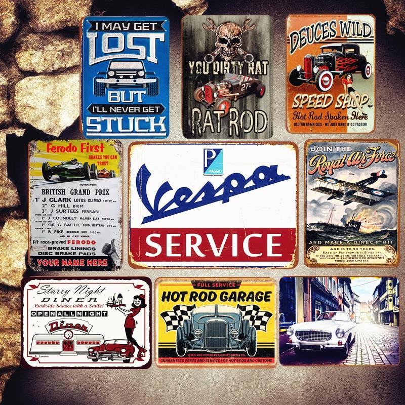 Vintage Personalised Lambretta Sales and Service Servizio Metal Tin Sign
