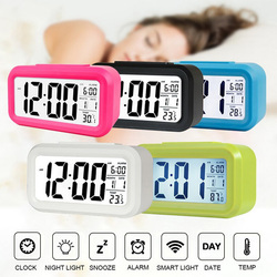 Smart Digital Alarm Clock with Date and Temperature Snooze Button on Top Battery Operated Rectangle Desk Clock with Night Light