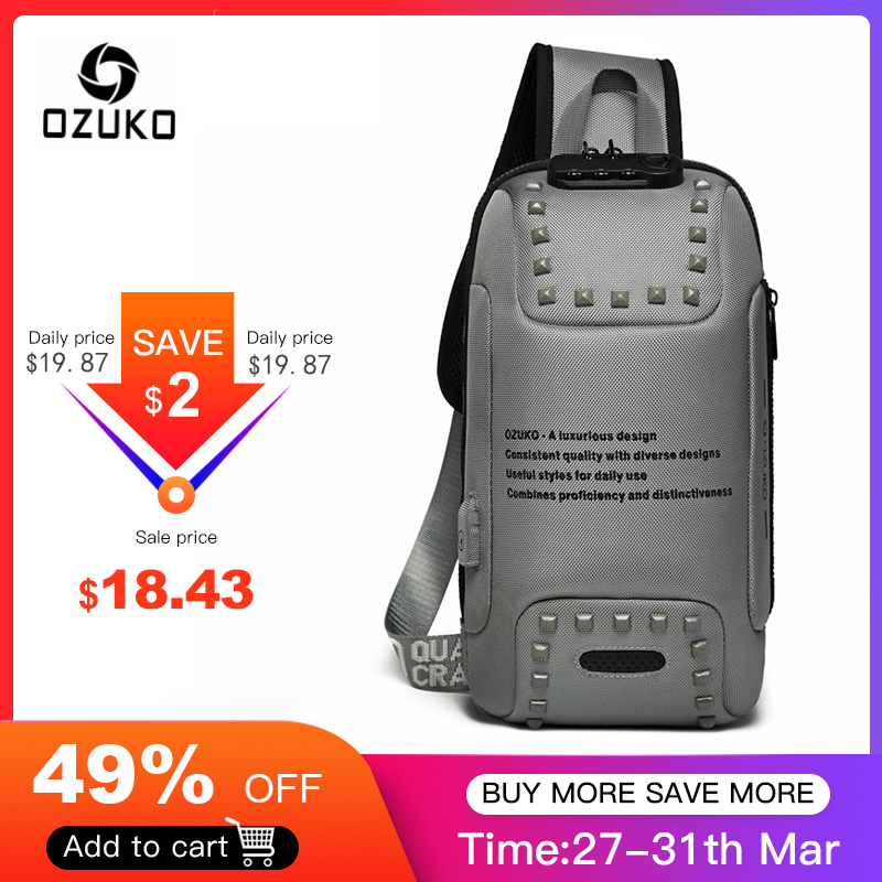 OZUKO Fashion Men Rivet Crossbody Bags Anti-theft Messenger Bag USB Charging Chest Pack Short Trip Water Repellent Shoulder Bag