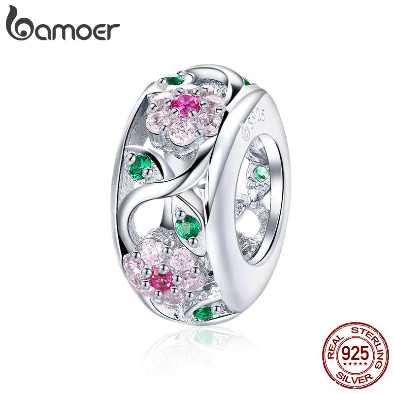 BAMOER Silver Charm 925 Sterling Silver Flower Tree Leaves Dazzling CZ Spacer Beads fit Bracelets & Bangles Jewelry BSC039(China)