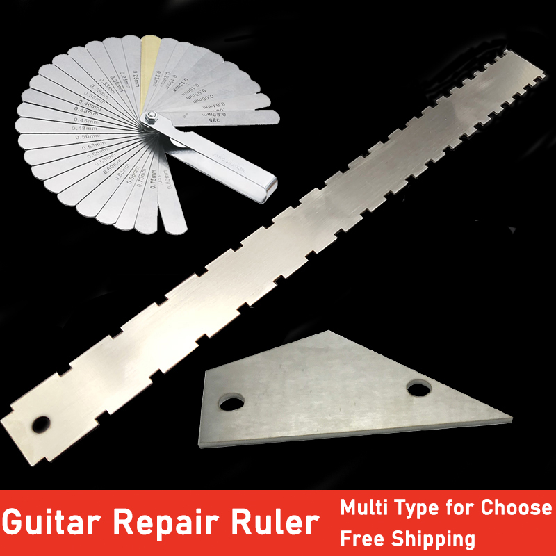 Dual Scale Guitar Neck Ruler  Rulers For Check Fretboard String Level Ruler Straightness Flat Frets Guitar Repair Tool