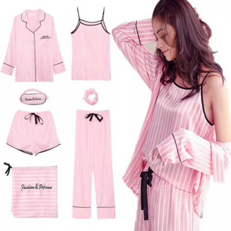 7 Pieces Set Women Pajamas Spring Summer Silk Satin Pyjamas Women Sleepwear Pink Striped Long Sleeve Full Lounge
