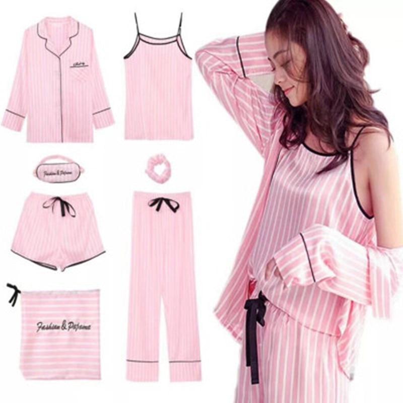 7 Pieces Set Women Pajamas Spring Summer Silk Satin Pyjamas Women Sleepwear Pink Striped Long Sleeve Full Lounge
