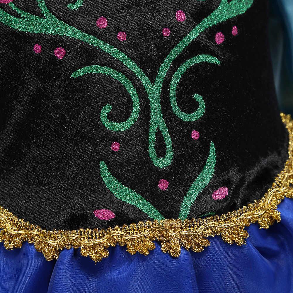 Vestido de princesa anna para meninas, fantasia de princesa para festas, dia das bruxas, cosplay, vestido com capa, aniversário, fantasia, vestido de rainha, meninas, roupas