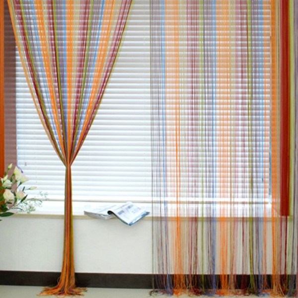 #<font><b>82018</b></font> Creative 1m X 2m Window Fringe Wall Panel Room Divider Strip Tassel Line String Curtain Best Selling CM image