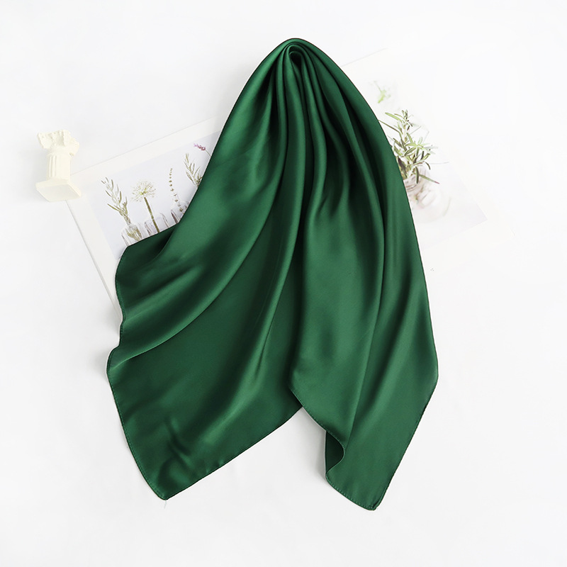 70cm*70cm Headband Neck Scarf For Women Small Shawls Cute Handkerchief Bandana Head Scarfs Female Black White Green Solid Colors