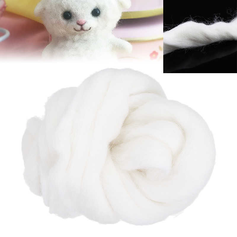 Soft White Dyed Wool Tops Roving Wool Fibre For Needle Felting Hand Spinning DIY Needlework Poke Sewing 50g
