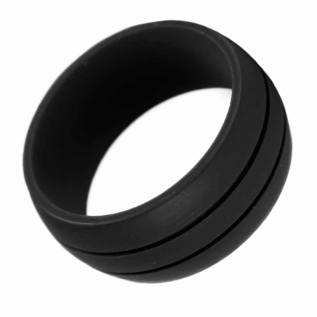 1 anillo de dedo de silicona 9mm de ancho gris/negro/azul tamaño 6-12 ballesta hipoalergénico Flexible boda compromiso