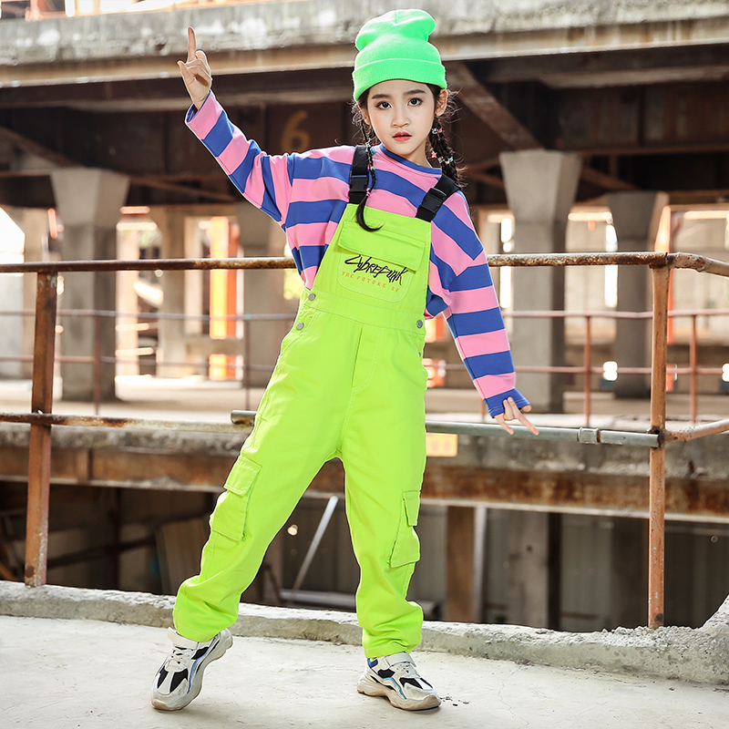 New Hip Hop Girl Clothing Children Street Boy's Wear Stripe Top Green Overall Jazz Costume Kids Dance Performance Hiphop 1399