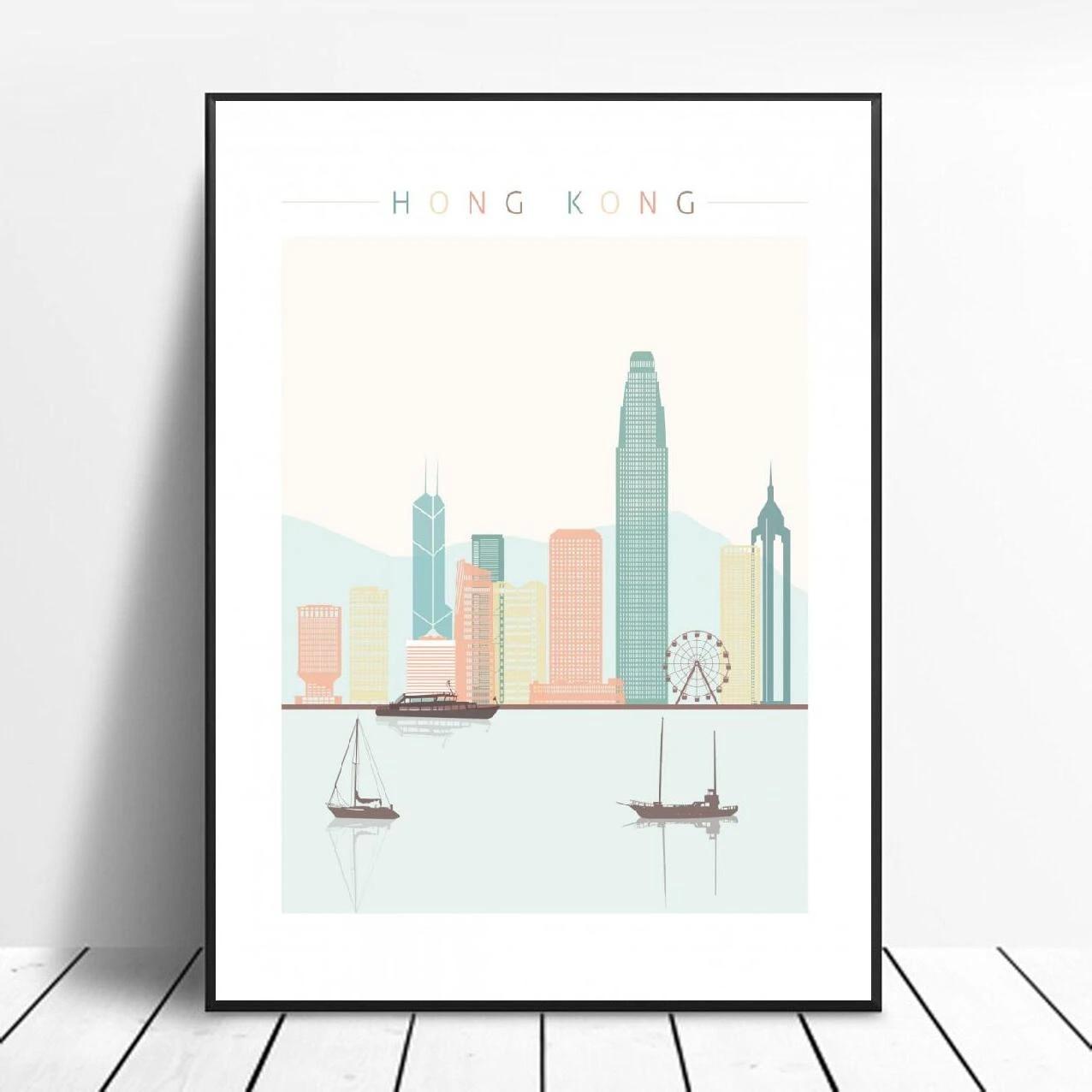 Home & Garden Hong Kong China City Skyline Art Print Home Decor ...