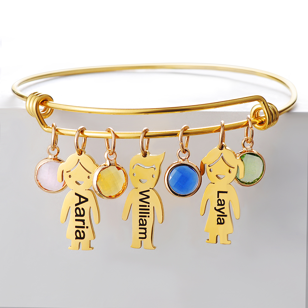 Customized Stainless steel Engrave Pendant Crystal Beads Bracelets Adjustable Bangles with Kids Names Gift Family Present
