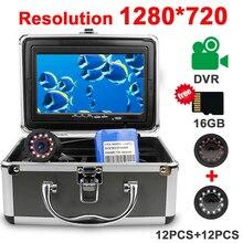 Erchang Cámara de pesca submarina, grabación de vídeo, HD, 1280x720P, 12 Uds., infrarroja + 12 Uds., lámpara blanca para hielo/Mar