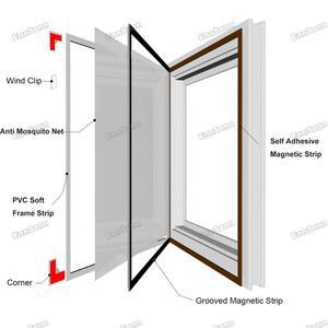 Image 3 - Регулируемый магнитный оконный экран «сделай сам», окна для автодомов, съемная моющаяся невидимая москитная сетка для мух, сетка на заказ
