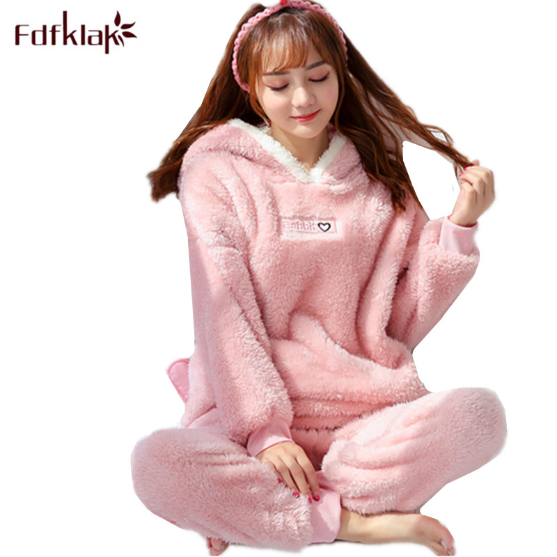 Fdfklak Cartoon Cute Pajamas For Women Long Sleeve Flannel Winter Pyjamas Women Home Suit Warm Sleepwear Pajama Pijamas Sets