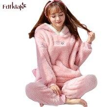 Fdfklak Hoạt Hình dễ thương Bộ đồ ngủ nữ tay dài dép Nỉ Mùa Đông pyjamas nữ nhà phù hợp với ấm đồ ngủ pijama pijamas Bộ