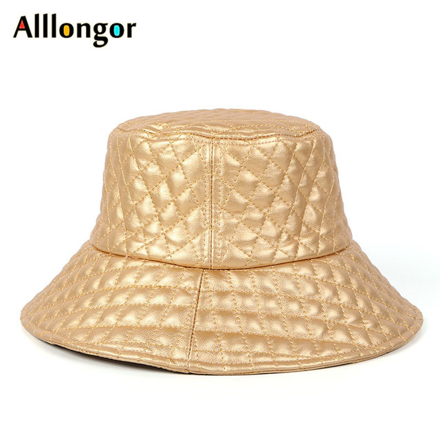 Fashion 2019 Leather Winter Bucket Hat Women Wide Brim Plaid Black Flat Cap gorro pescador chapeu hip hop safari fisherman hat