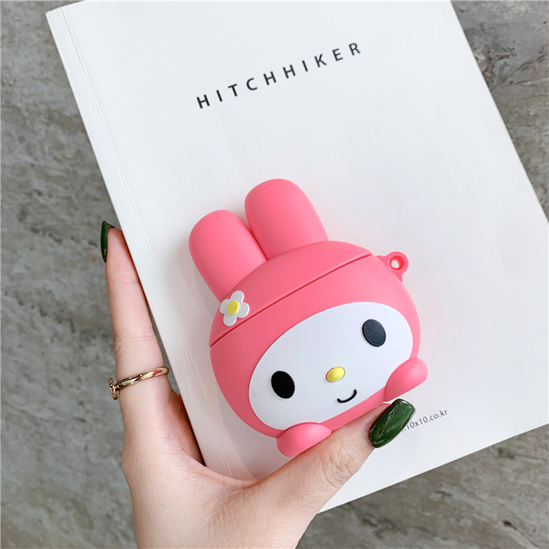 3D Lovely Japan Cartoon My Melody shockproof Headphone Case For Apple Airpods 1/2 Cute Rabbit Silicone Protection Earphone Cover