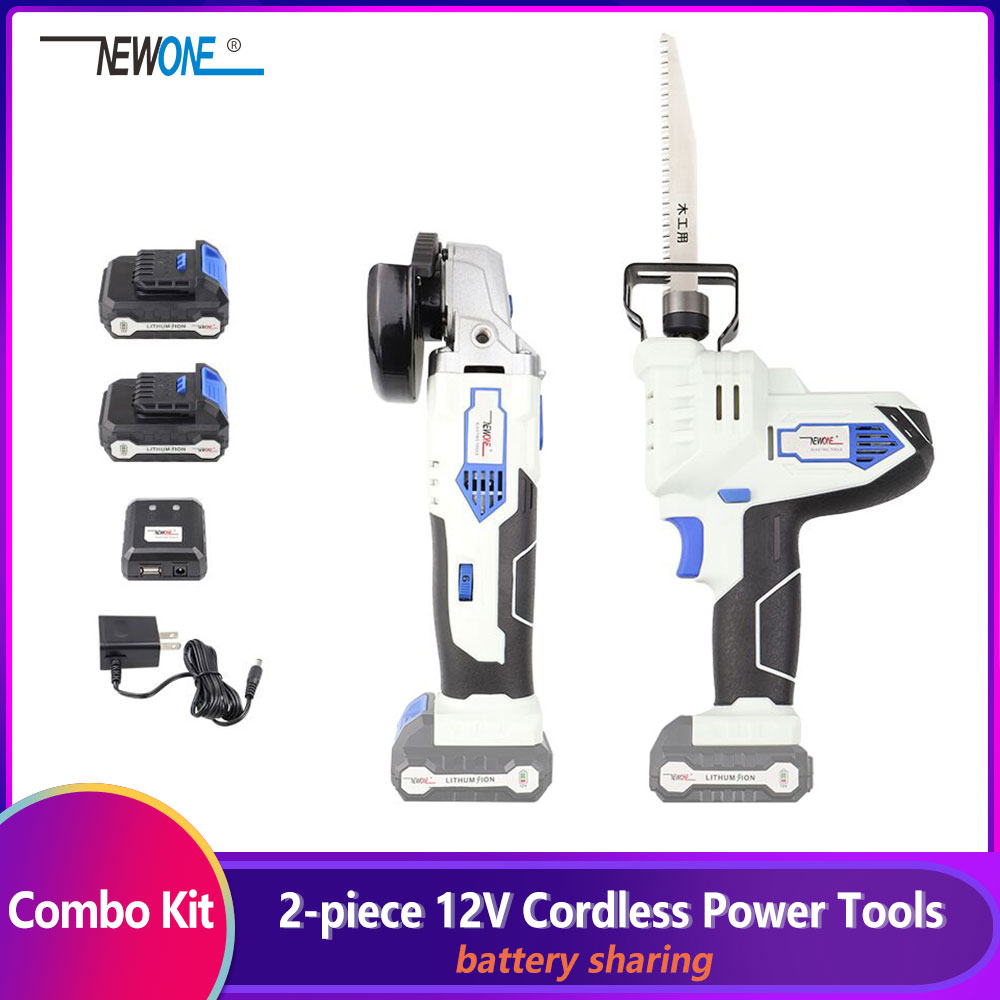 2-Piece NEWONE 12V Lithium-Ion Cordless Power Tool Combo Kit Angle Grinder and Reciprocating Saw Combination with 2.0Ah Battery