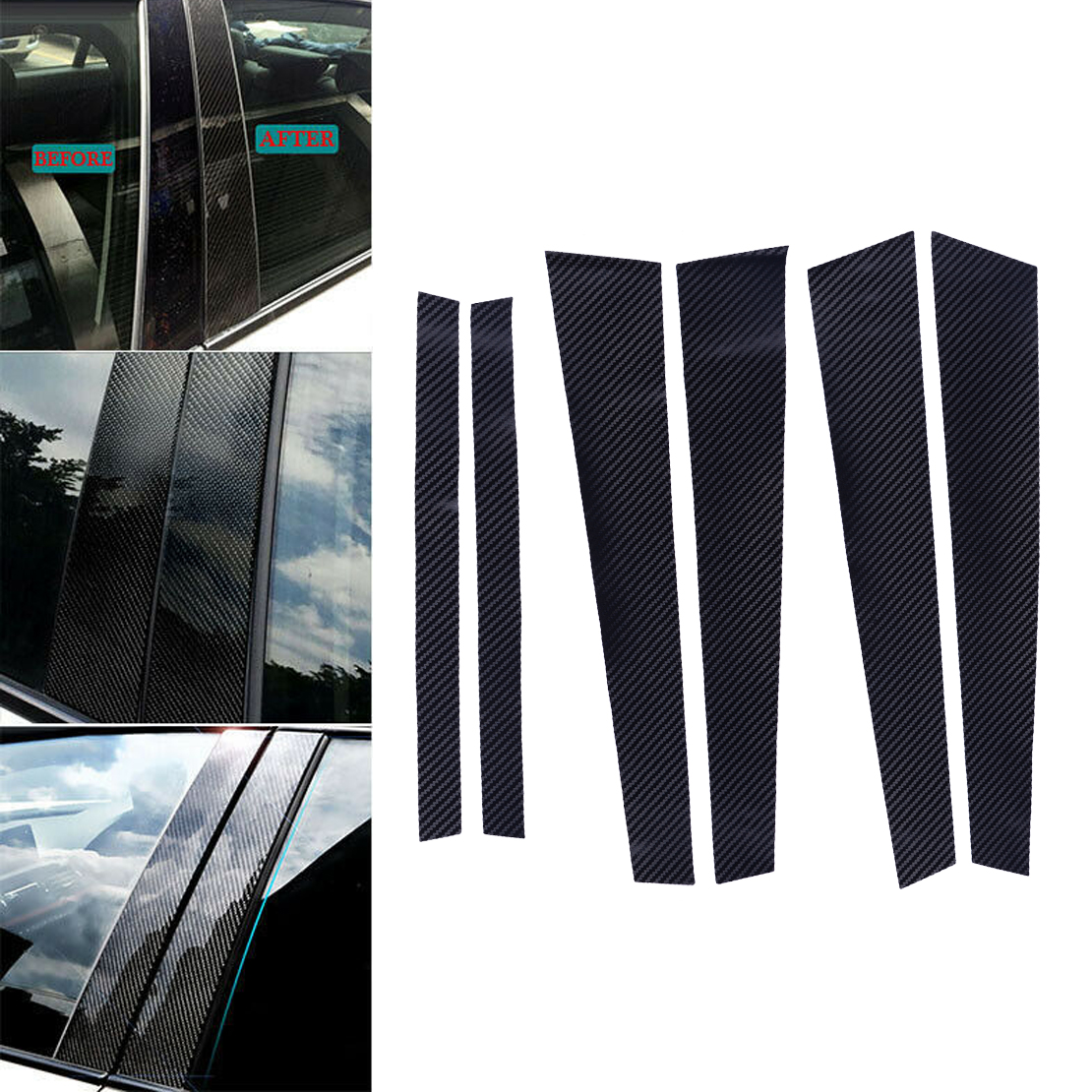 CITALL Carbon Fiber Style B Pillars Column Trim Cover Sticker Fit For BMW 5 Series E60 2004 2005 2006 2007 2008 2009 2010