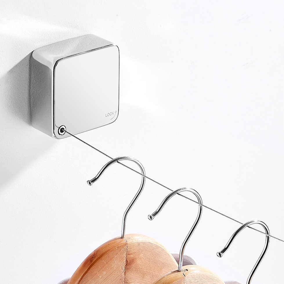 Czarny biały złoty wysuwany sznur do bielizny szafie 304 ze stali nierdzewnej suszenie ubrań wieszak na balkon łazienka zmniejszyć linka z drutu