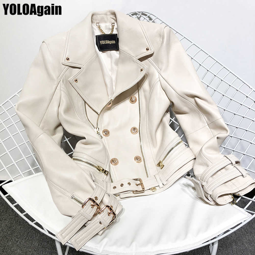 YOLOAgain women genuine leather jacket office ladies double breasted zipper real leather jacket