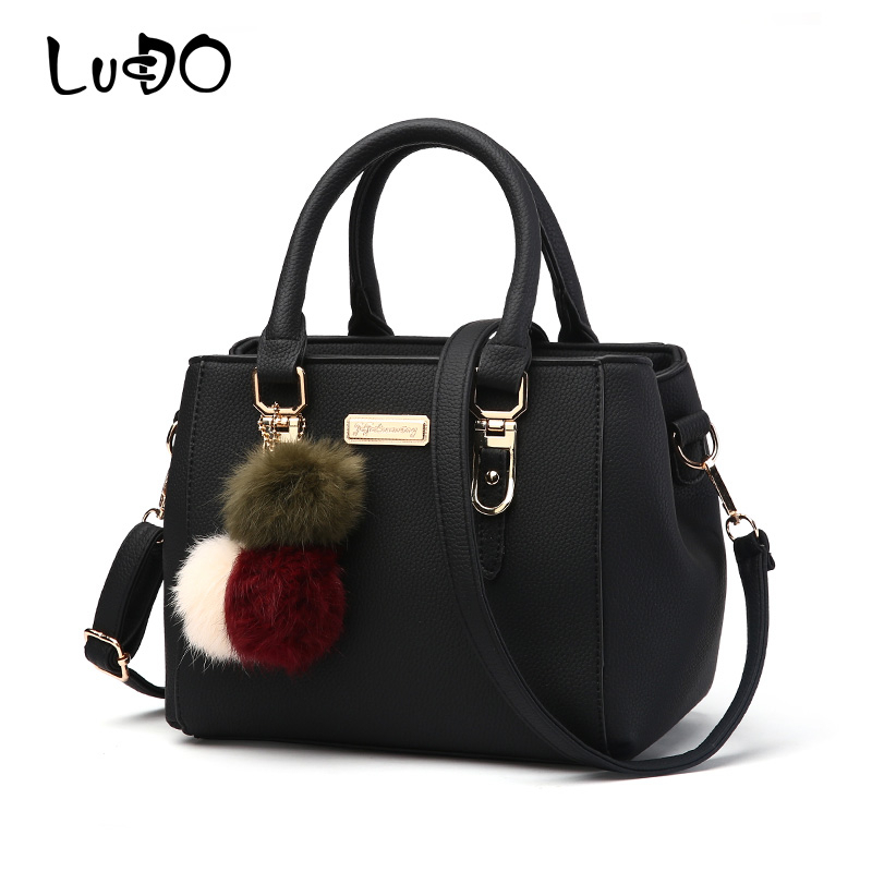LUCDO Luxury Women Handbag Hairball Shoulder Bag Leather Messenger Crossbody Bag For Ladies Vintage Leather Female Hand Bags Sac