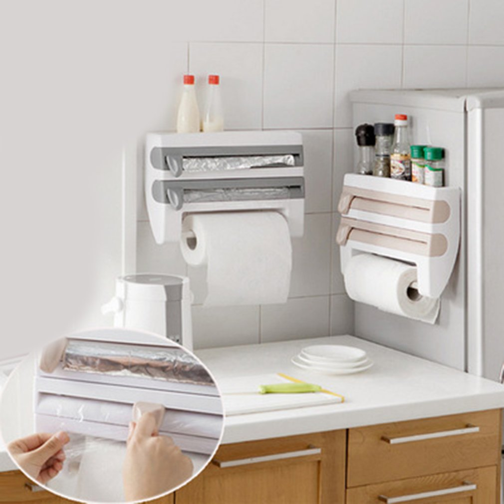 Portable Kitchen Storage Cling Film Sauce Bottle Rack Container Paper Towel Holder With Cutting Blades Home Kitchen Supplies