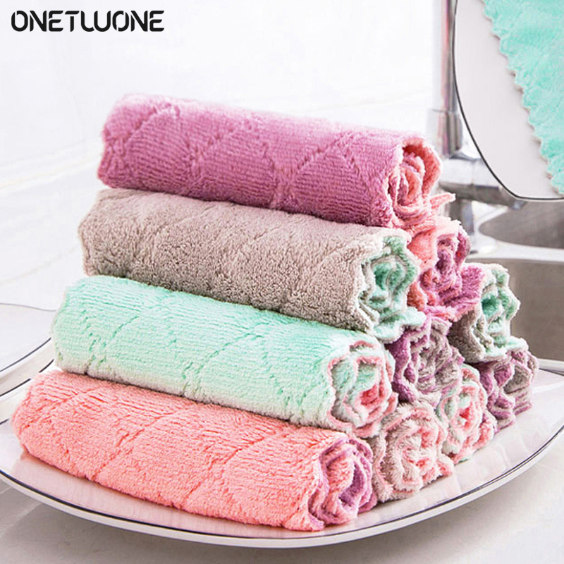 2/5/10Pcs Rag Cleaning Cloth Washing Dishs Kitchen Supplies Kitchen Double Side Absorbent Dishcloth Special Soft Kitchen Tool