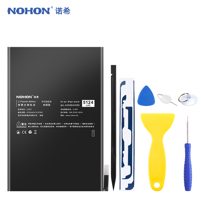 NOHON Tablet Battery For Apple iPad Mini 4 Mini4 A1538 A1546 A1550 Replacement Battery 5124mAh High Capacity Bateria Free Tools