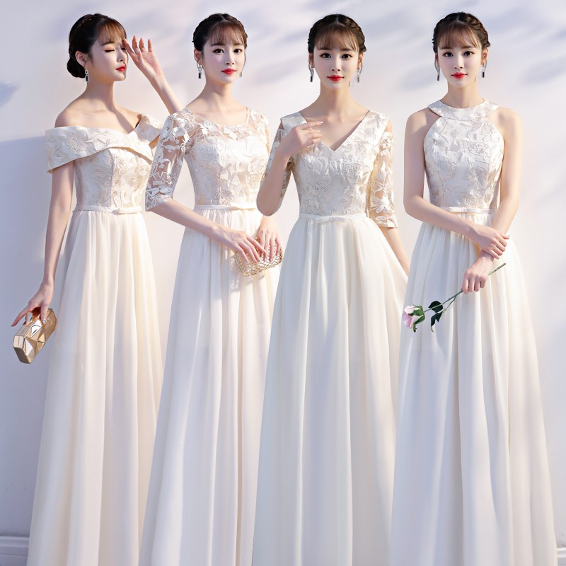 Burgundy Bridesmaid Dresses Long Chiffon Embroidery Maid Of Honor Dresses For Weddings Vestido Azul Marino Simple Dress Prom