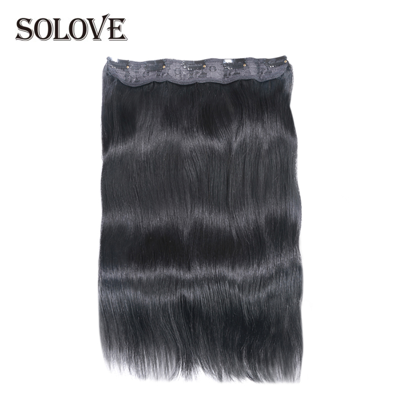 SOLOVE Hair Brazilian Remy Straight Hair Clip In Human Hair Extensions Natural Color  5 Clips/1 Piece
