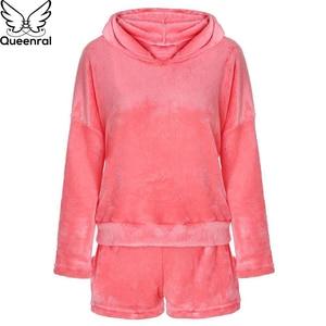 Image 5 - Queenral נשים של פיג מה סט Pyjama סקסי Nightwear חם פיג מה Homewear הלבשת פלנל חורף פיג מה בתוספת גודל XXXL 4XL 5XL