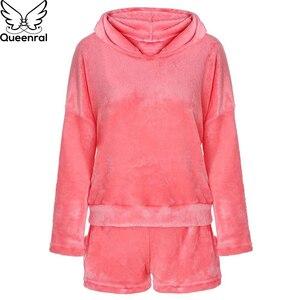Image 5 - Queenral frauen Pyjamas Set Pyjama Sexy Nachtwäsche Warme Pijama Homewear Nachtwäsche Flanell Winter Pyjamas Plus Größe XXXL 4XL 5XL