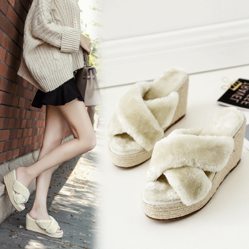 Ladies Genuine rabbit fur shoes women cross belt open toe wedges platform slipper straw knitted high heel home slide shoes woman