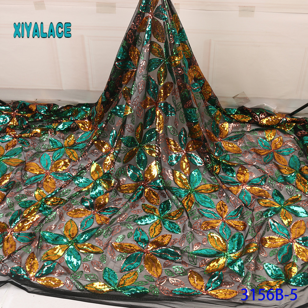 French Lace Fabric Green Sequins African Lace Fabric 2019 High Quality Lace Fabric For Nigerian Wedding Dresses YA3156B-5