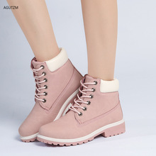 Hot women Martin boots Platform Pink Women Boots Lace up Casual Ankle Boots Booties Round Women Shoes winter snow boots z253